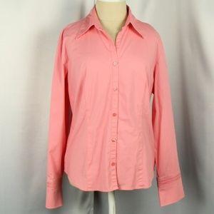Ann Taylor Loft Salmon Colored Button Down Shirt